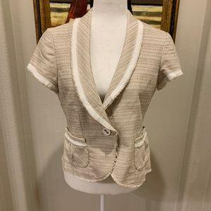 Gorgeous WHBM Short Sleeve One Button Tweed Jacket